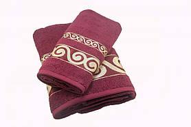 Набір махрових рушників Parisa Касабланка бавовняні 50х90, 70х140 бордовий SKL53-239723