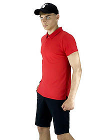 Костюм літній червоно-чорний Чоловіча футболка поло Чоловічі шорти трикотажні і Кепка SKL59-259648