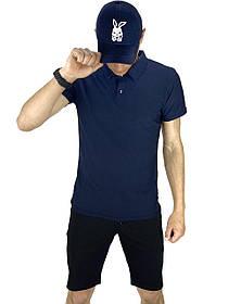 Костюм літній синій з чорним Чоловіча футболка поло Чоловічі шорти трикотажні і Кепка SKL59-259647