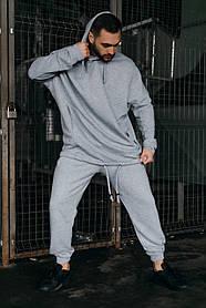 Костюм мужской спортивный весенне-осенний Oversize серый Худи толстовка и штаны серые SKL59-283424