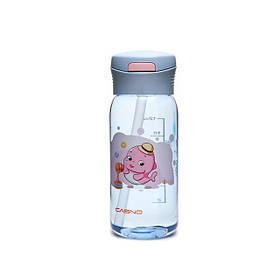 Пляшка для води Casno 400 мл KXN-1195 Сіра дельфін з соломинкою SKL24-277288