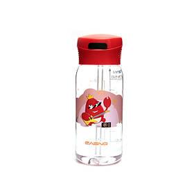 Пляшка для води Casno 400 мл KXN-1195 Червона краб з соломинкою SKL24-277289