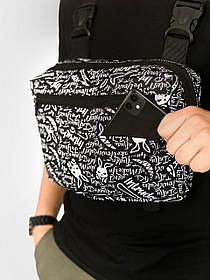 Нагрудная сумка Bunny logo Мужская Сумка барсетка Черная - Белая SKL59-259698