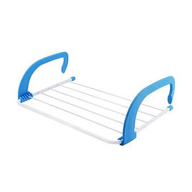 Знімна вішалка для одягу і взуття Fold Clothes Shelf навісна сушіння білизни Блакитна SKL11-276410