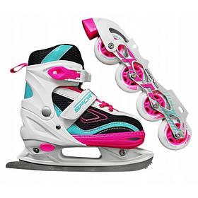 Роликовые коньки SportVida 4 в 1 SV-LG0031 Size 31-34 Pink-Blue SKL41-227437