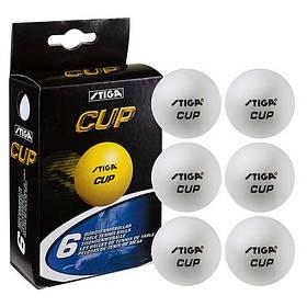 Кульки для настільного тенісу Stiga Cup 3 6 шт білий C-6 SKL11-281937