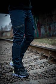 Теплые штаны карго синие Conqueror SKL59-259572