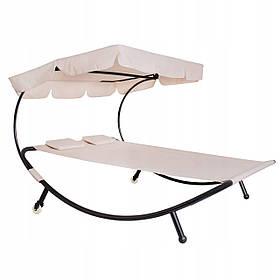 Шезлонг лежак садовый двухместный с навесом Springos SKL41-277964