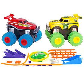 Машинки Trix Trux набор 2 машинки с трассой на батарейках красный плюс желтый SKL17-139993