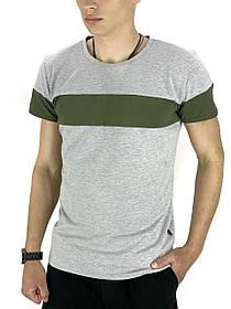 Футболка Мужская Color Stripe серый - хаки SKL59-259611