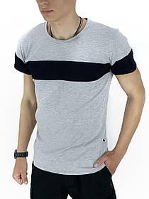 Футболка Чоловіча Color Stripe сірий - чорний SKL59-259612