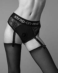 Мереживні труси для страпона з підв'язками для панчох Strap-On-Me DIVA HARNESS - M