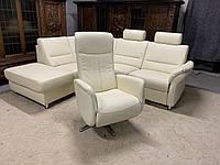 Шкіряний кутовий диван+крісло реклайнер.