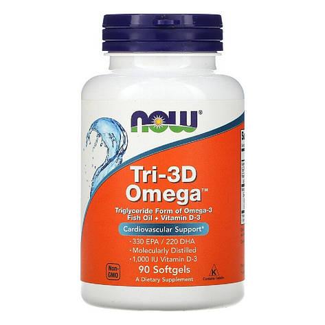 Рыбий жир + Д3, Tri-3D Omega, Now Foods, 90 желатиновых капсул, фото 2