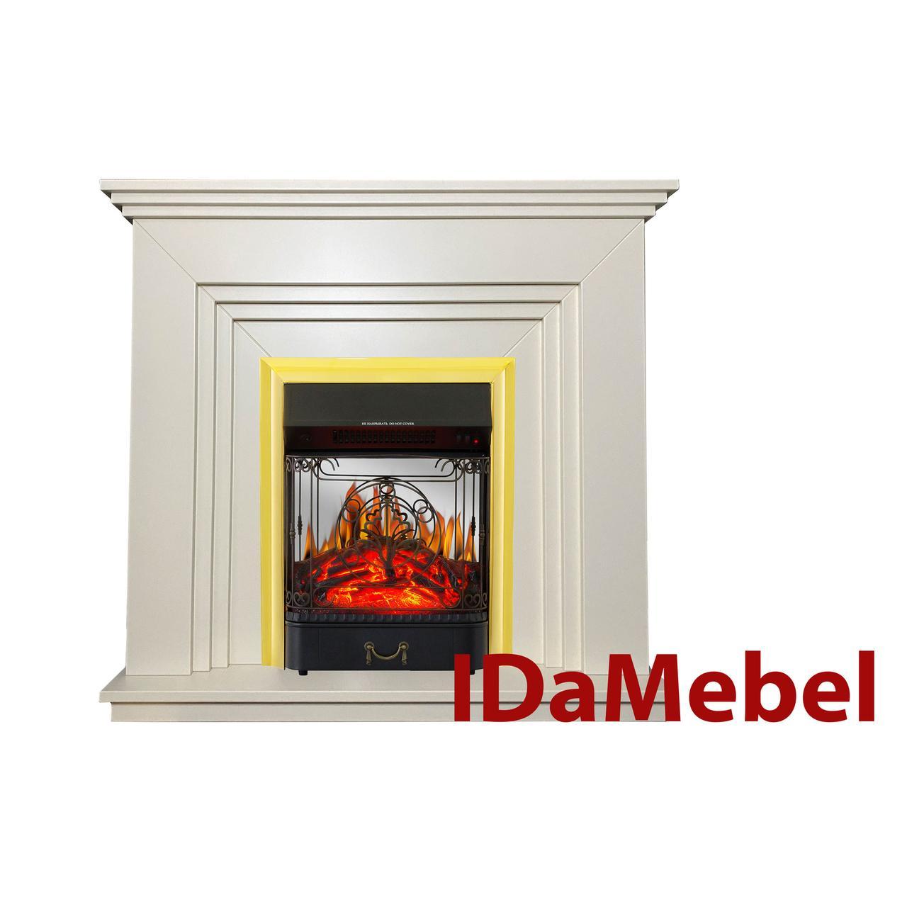 Каминокомплект IDaMebel Gloria Белый Majestic Brass