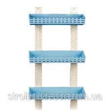 Полка прямая  для ванной 3х уровней  пластик цвет голубая