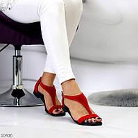 """Женские замшевые босоножки на низком ходу Красные """"Rome"""", фото 1"""