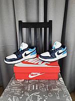 Кроссовки мужские Nike Air Jordan 1 Low Obsidianсиние. Мужские кроссовки Найк Аир Джордан Ретро синего цвета., фото 1