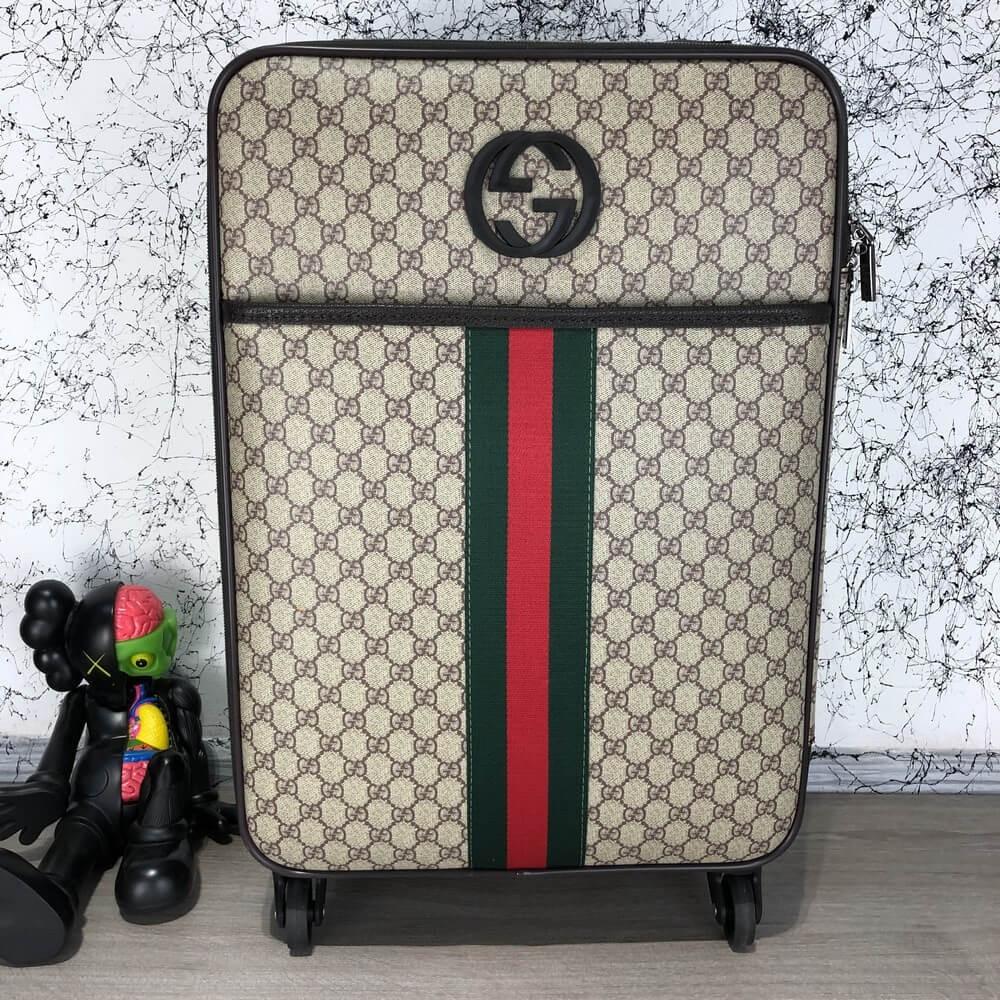 Чемодан Gucci Rolling Luggage Signature 55 with Web Beige