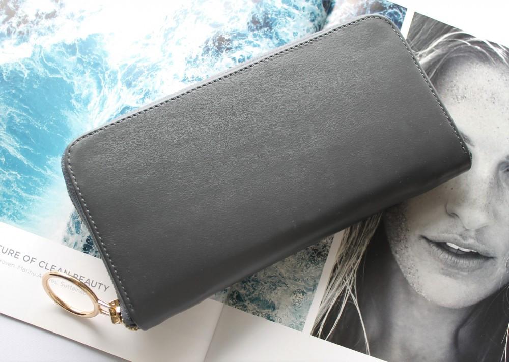 """Жіночий шкіряний гаманець """"Grizzly"""" сірий"""