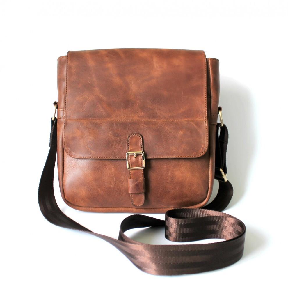 """Чоловіча шкіряна сумка """"Effetto"""" коричнева"""
