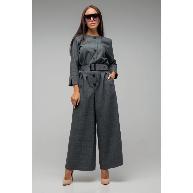 Графитовый модный комбинезон с  брюками-клеш.