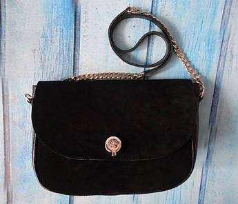 """Женская замшевая сумка """"Soft"""" черная"""