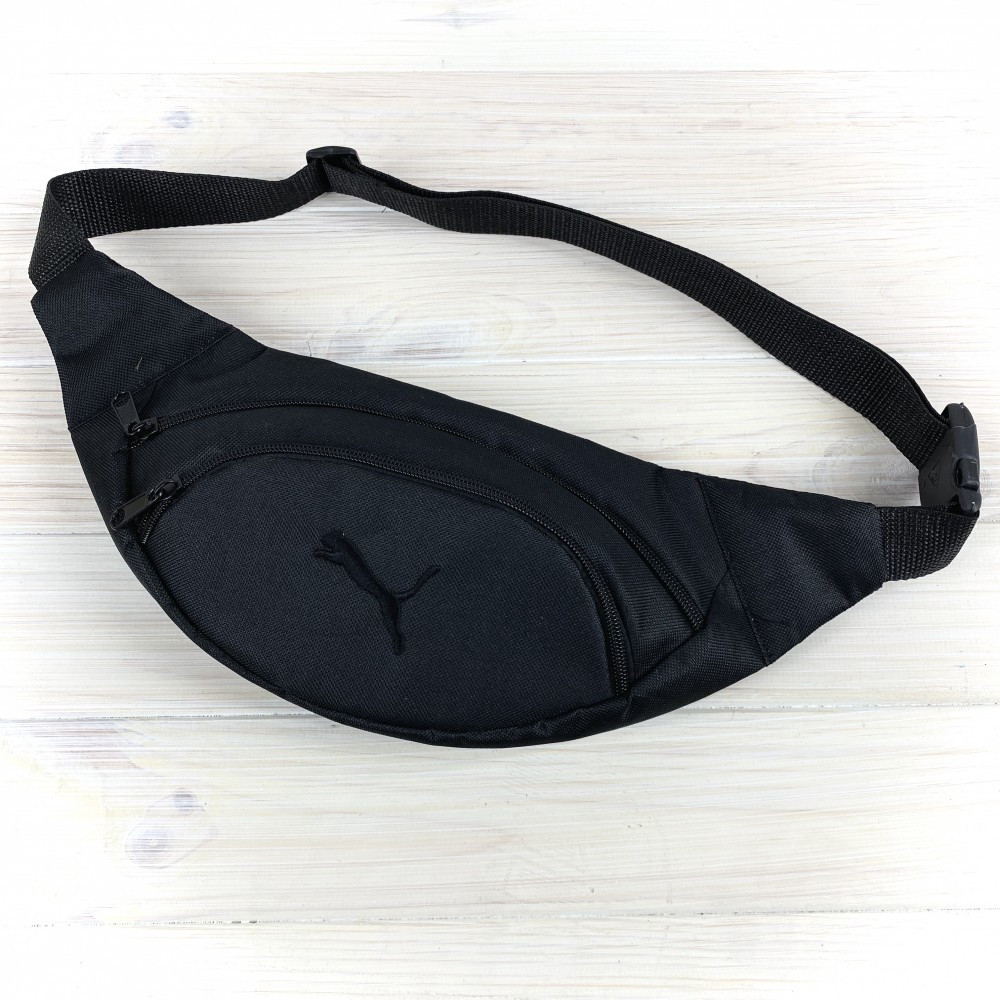 Мужская поясная сумка puma Бананка, черная. Черный логотип