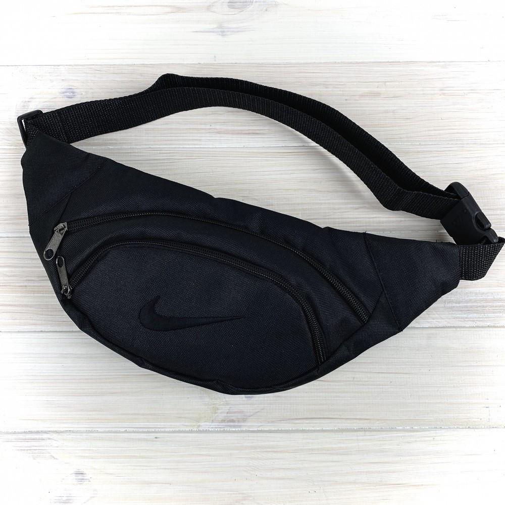 Мужская поясная сумка nike  Бананка, черная. Черный логотип