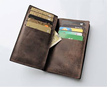 """Мужской кожаный кошелек """"Spazioso"""" 20 отделений для карт"""