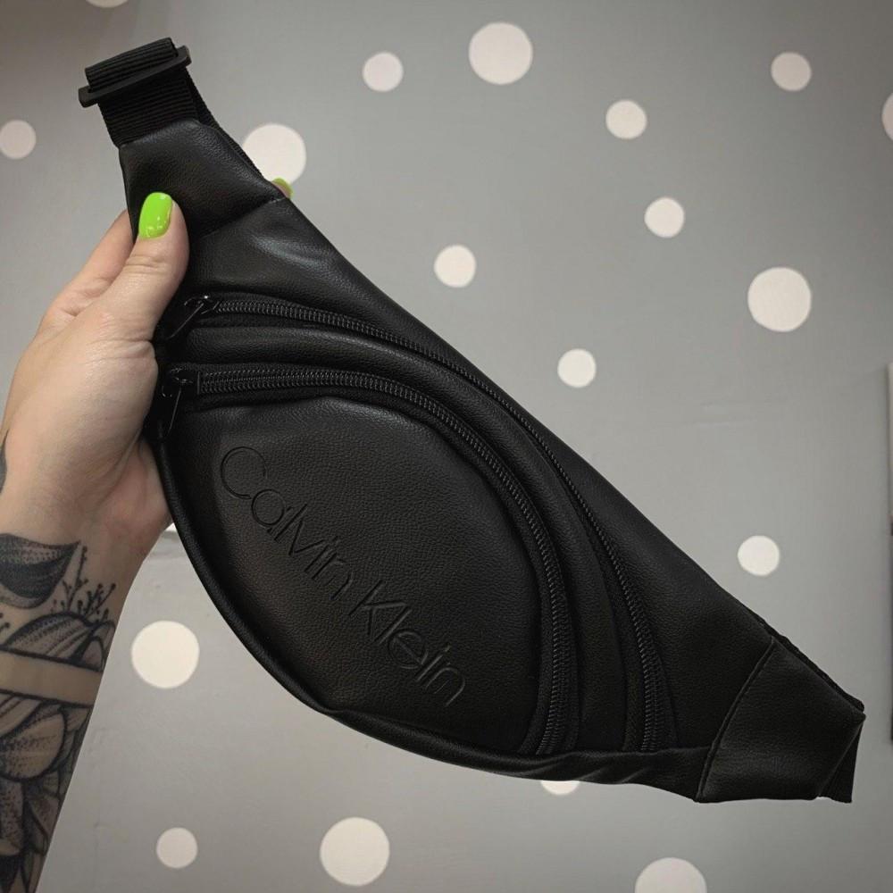 Бананка чорний кожзам Calvin Klein
