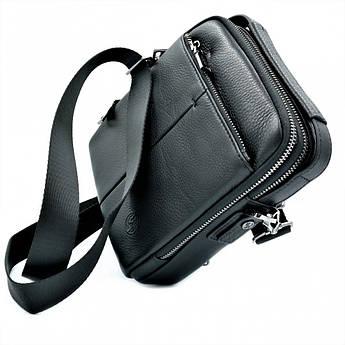 Мужская кожаная сумка H.T.Leather Чёрного цвета 422-5