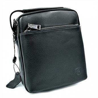Мужская кожаная сумка H.T.Leather Чёрного цвета 407-83
