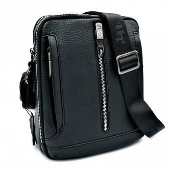Мужская кожаная сумка H.T.Leather Чёрного цвета 5435-4