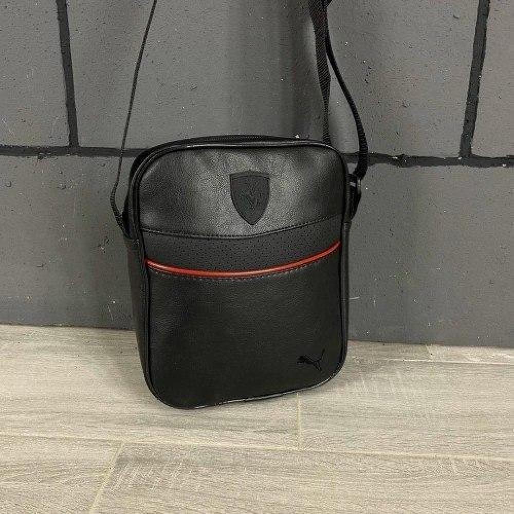 Мужская барсетка Puma Ferrari черная черное лого (Пума Ферари) сумка через плече