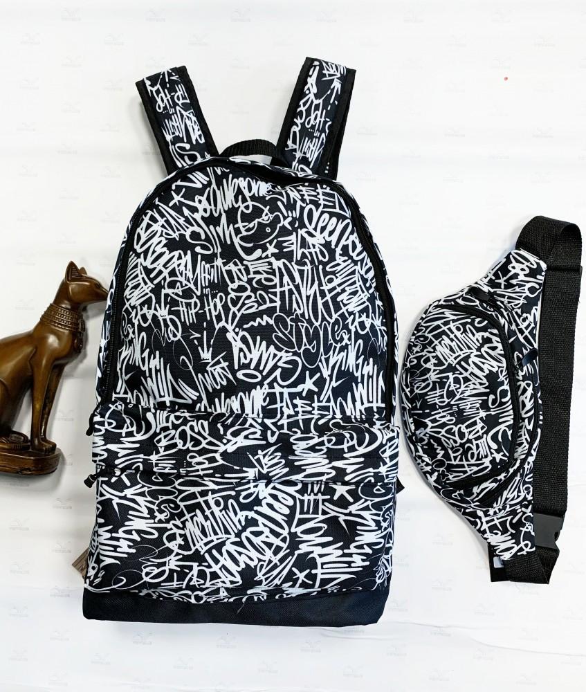 Комплект (рюкзак+бананка) Сalligraphy white