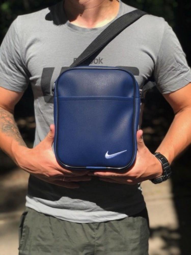 Барсетка синя шкір.зам. Nike велика білий логотип