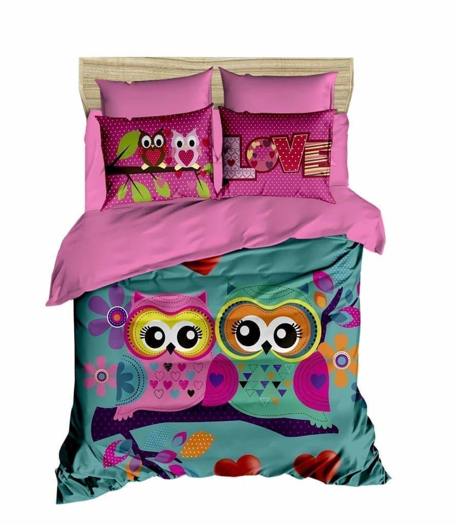 Постельное белье Евро 200х220 хлопок ранфорс LIGHT HOUSE 3D рисунок Owls in love