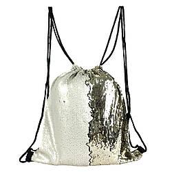 Рюкзак-мешок на шнурке с пайетками-перевертышами серебристый