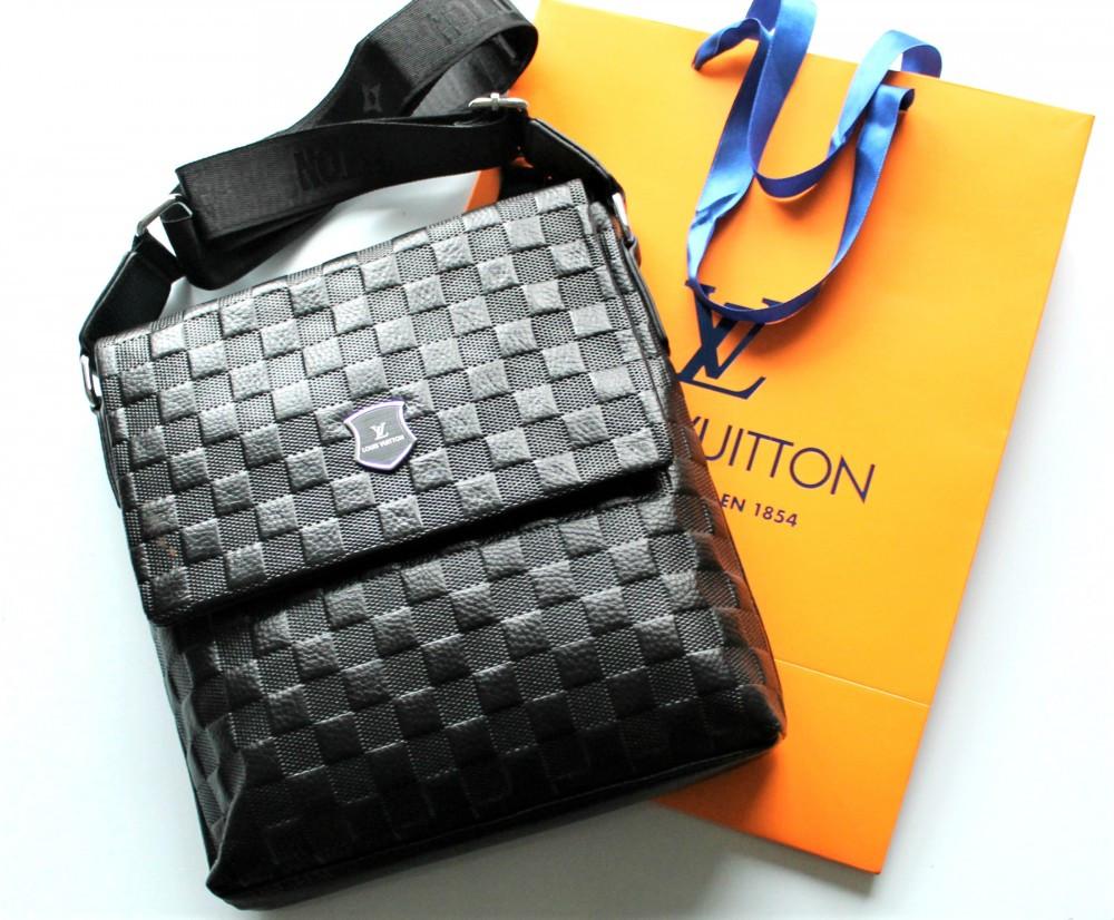 Чоловіча шкіряна сумка Louis Vuitton чорна