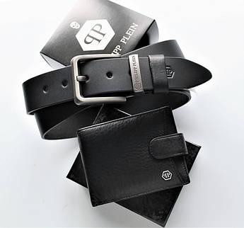 Чоловічий подарунковий набір ремінь і гаманець Philipp Plein black