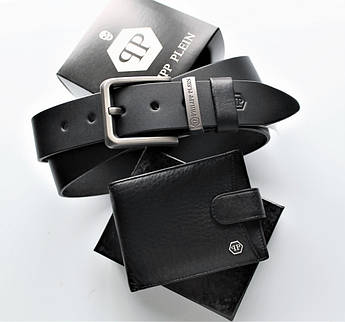 Мужской подарочный набор ремень и кошелек Philipp Plein black