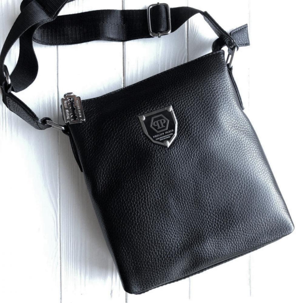 Чоловіча шкіряна сумка-месенджер Philipp Plein black