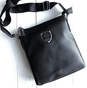Мужская кожаная сумка-мессенджер Philipp Plein black