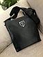 Чоловіча шкіряна сумка-месенджер Philipp Plein black, фото 2