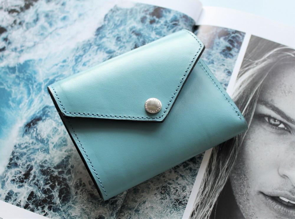 """Жіночий шкіряний гаманець """"Topazio"""" блакитний"""