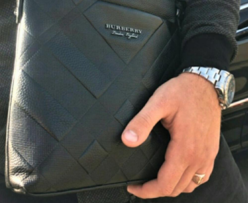 Чоловіча шкіряна сумка месенджер Burberry black