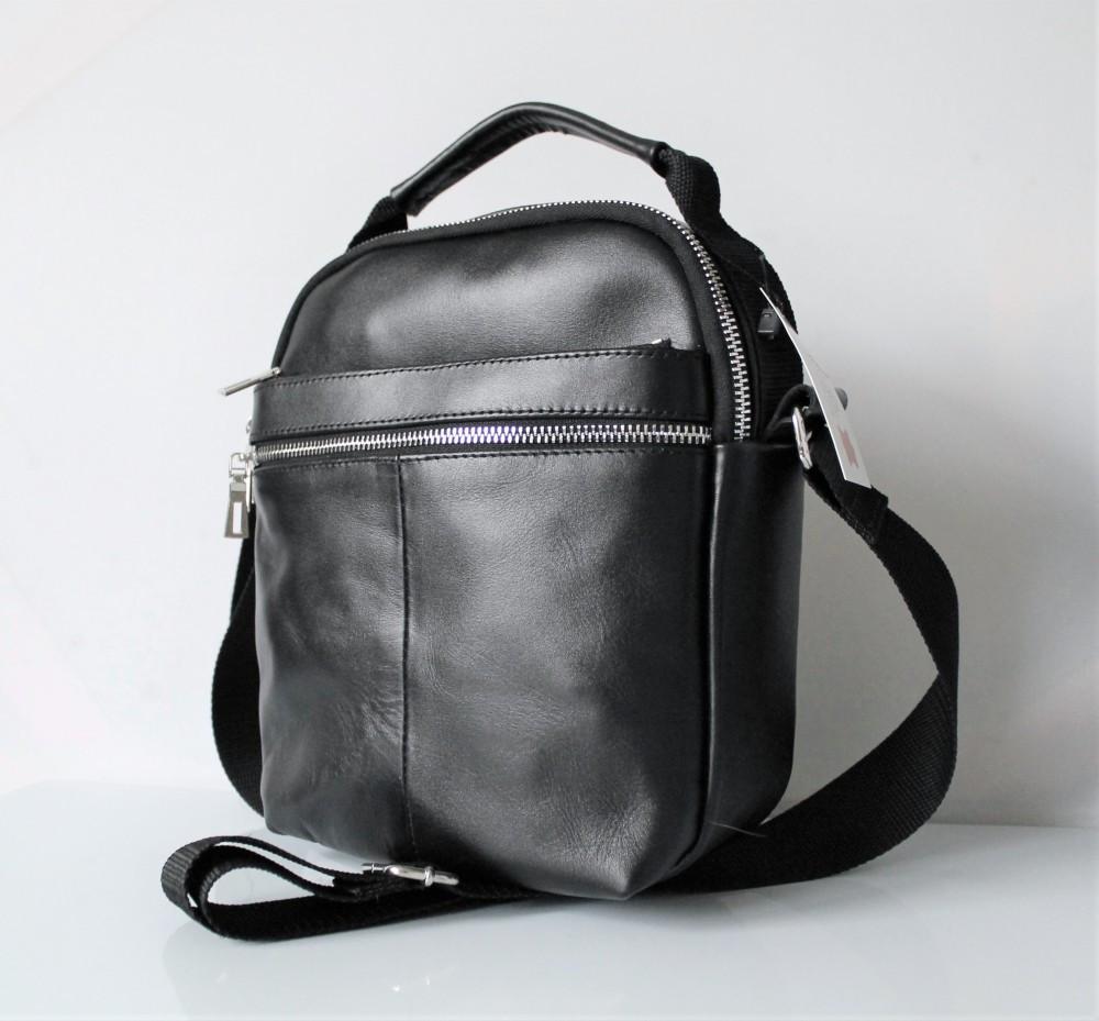 """Чоловіча шкіряна сумка мессенджер """"Carbone"""" чорна"""