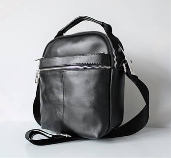"""Мужская кожаная сумка мессенджер """"Carbone"""" черная"""