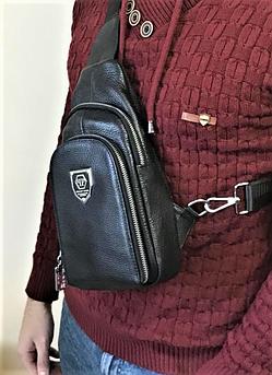 Мужская кожаная сумка слинг Philipp Plein через плечо черная